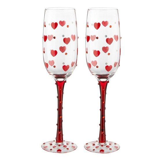 Pair Love Heart Prosecco Glasses