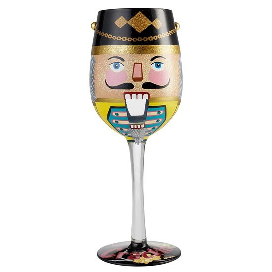 Lolita Get Crackin' Nutcracker Hand Painted Wine Glass