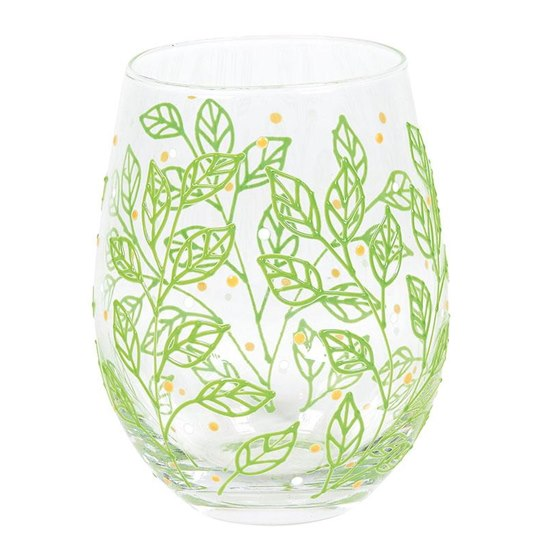 Izzy & Oliver Spring Leaves Stemless Glass
