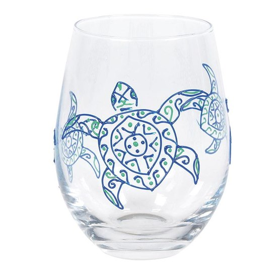 028399257096 Izzy & Oliver Sea Turtle Stemless Glass