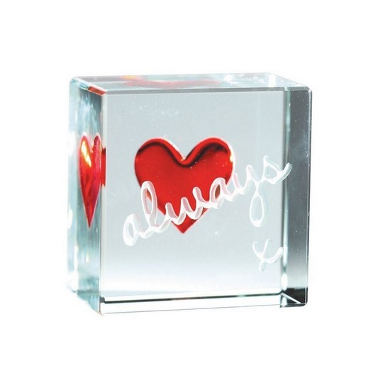 819785003348 Always Love Heart Glass Text Token