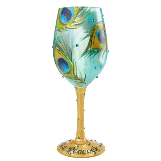 Lolita Pretty As Peacock Wine Glass