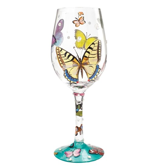 Lolita Butterfly Wishes Wine Glass