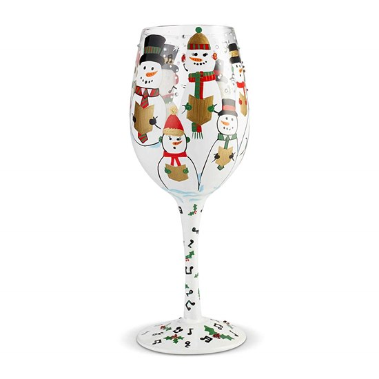 Lolita Singing in the Snow Festive Hand Painted Wine Glass