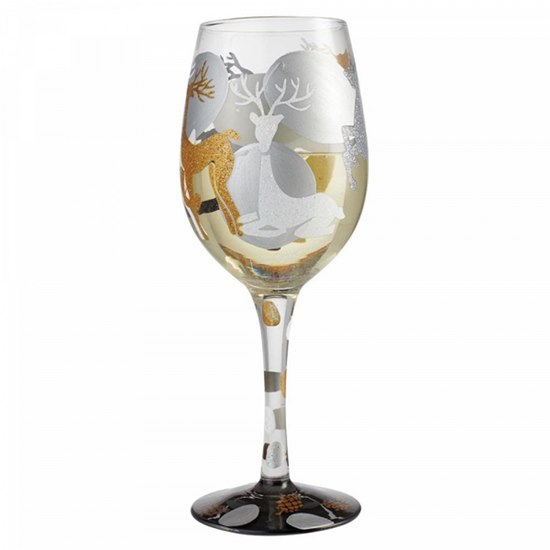 Lolita Visions Of Reindeer Hand Painted Wine Glass