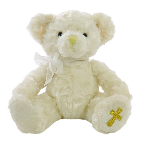 5053154100633 Christening Cream Faith Teddy