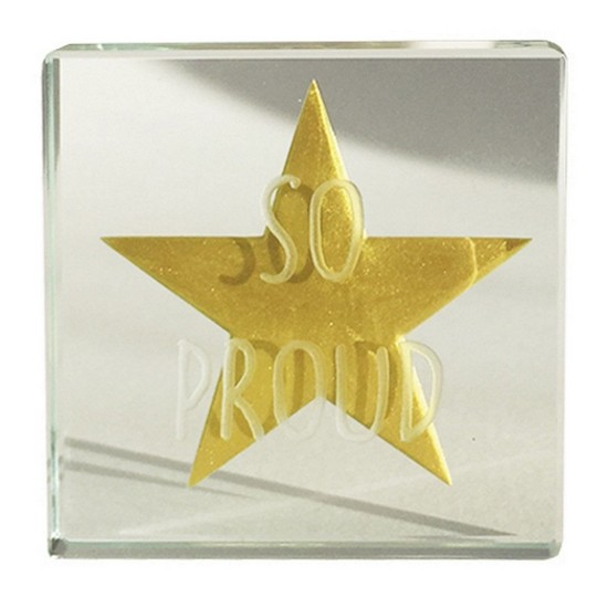 819785019646 So Proud Gold Star Miniature Glass Token