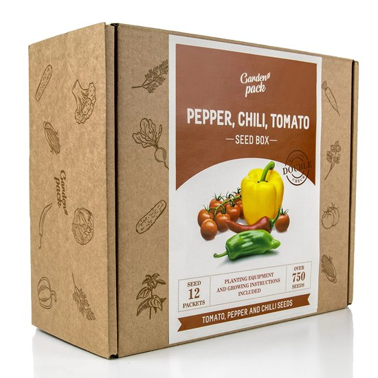 Garden Pack Tomato, Chili, Pepper Seed Box
