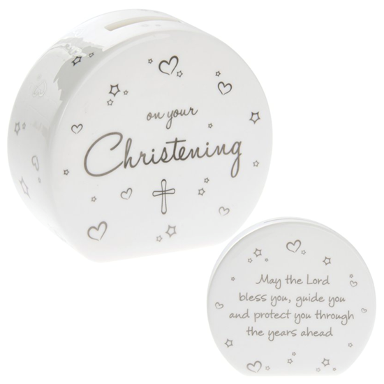 Christening Heart Money Box