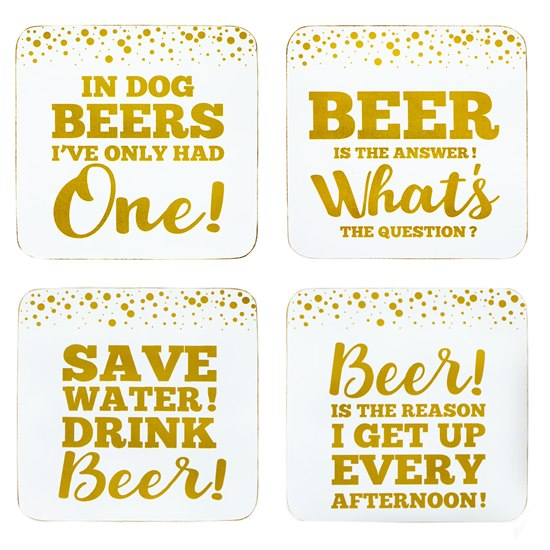 Gold Edition Beer Coasters Set 4