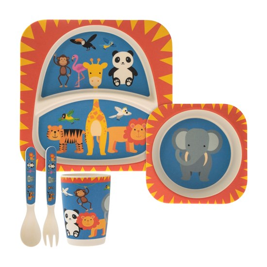 Zoo Animals Bamboo Dinner Set