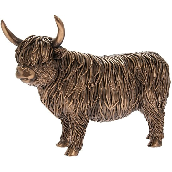 Bronzed Highland Cow Figurine
