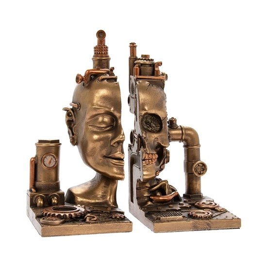 Steampunk Cyber Skull Bookends