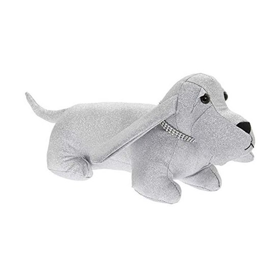 Glittered Silver Dog With Bling Collar Door Stop