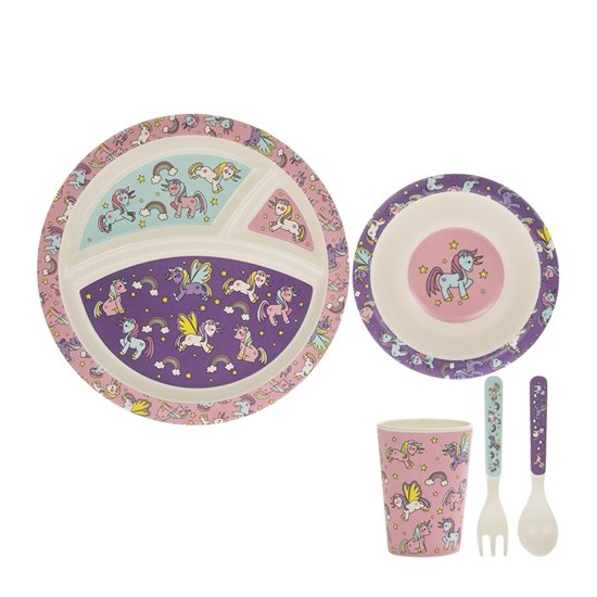 Unicorns & Rainbows Bamboo Dinner Set