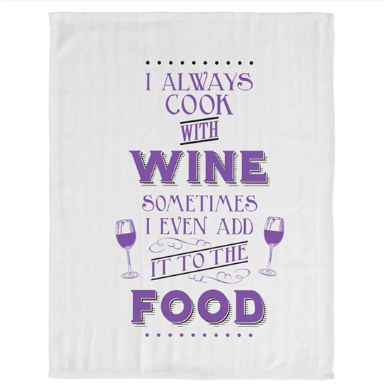 5010792935010 Always Cook With Wine Tea Towel