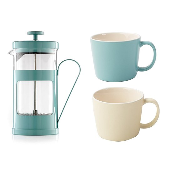 Monaco French Press Coffee Maker Blue with Cups