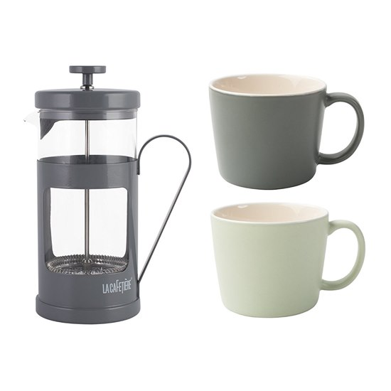 Monaco French Press Coffee Maker Grey with Cups