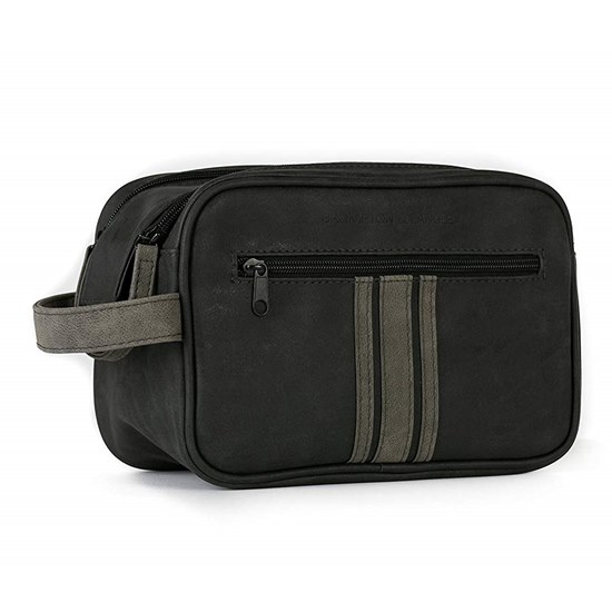 5016610700228 Brompton Langley Double Zip Black Mens Wash Bag