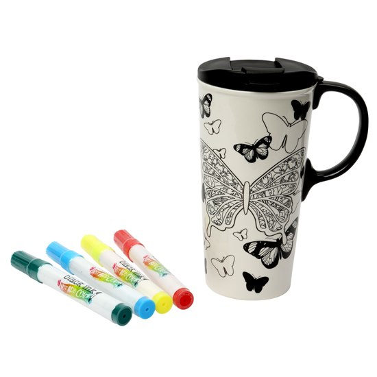 Butterfly Colour in Travel Mug