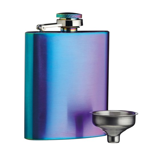 5028250772039 BarCraft Exotic Rainbow Hip Flask with Easy Pour Funnel