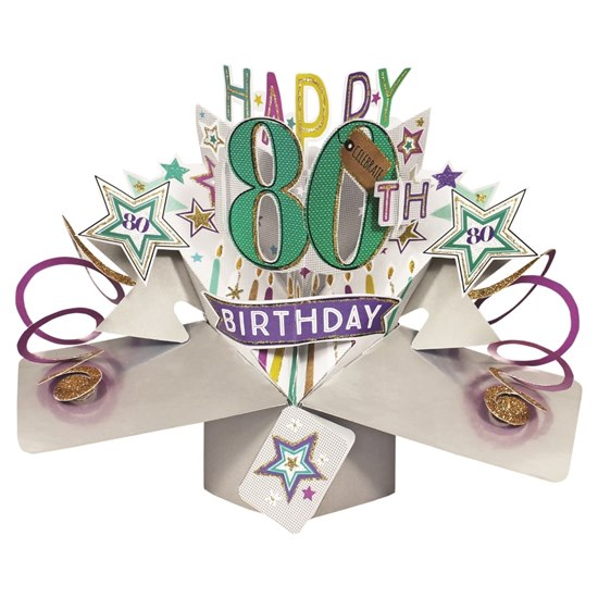5034527277244 80th Birthday Star Pop Up Card