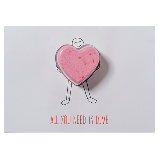 5037028264300 Bomb Cosmetics All You Need Is Love Bath Blaster Card