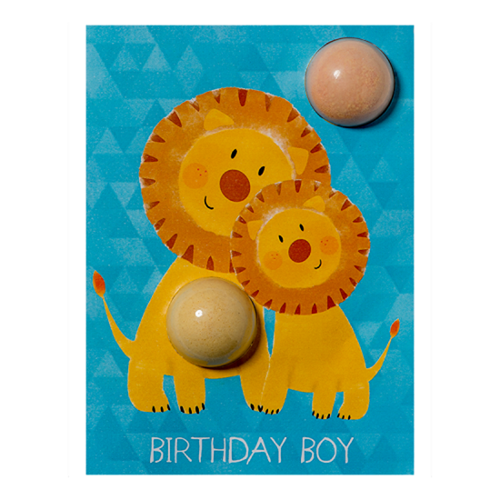 5037028264348 Bomb Cosmetics Birthday Boy Lion Bath Blaster Card
