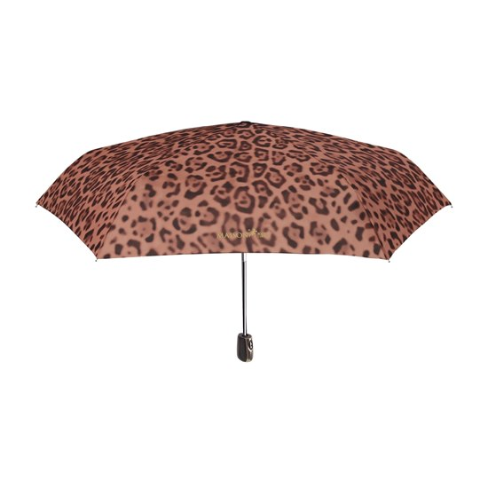 Leopard Print Mini Folding Umbrella Brown