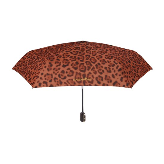 Leopard Print Mini Folding Umbrella Orange