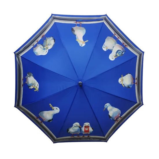 5055722206525 Cherry Parsons Folding Umbrella - 'Who Forgot the Fish?'