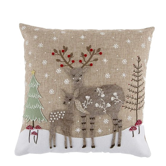 5055992745304 Sass & Belle Winter Folk Deer Wonderland Cushion