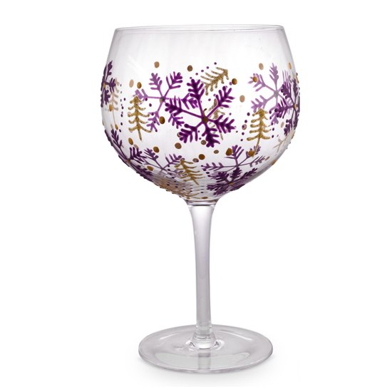 5056053229672 Christmas Gin Glass Purple & Gold