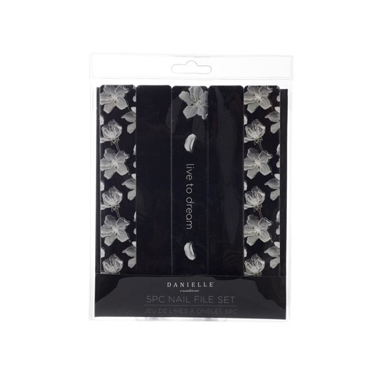 5056223113817  Black Floral Design 5 PC Assorted Nail Files