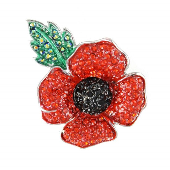 5060363724383 Large Four Petal Crystal Poppy Brooch