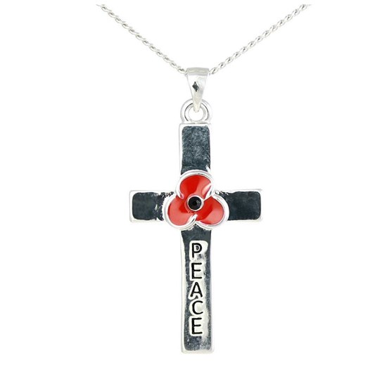 5060363728756 Remembrance Poppy Charity Jewellery Peace Cross Pendant