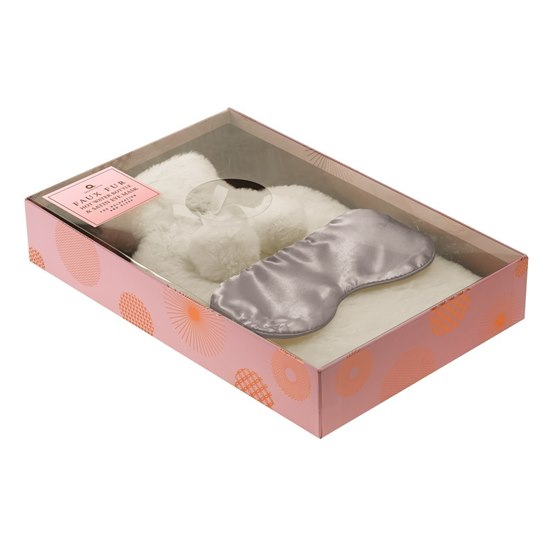 5060398129207 Cream Faux Fur Hot Water Bottle & Eye Mask Set
