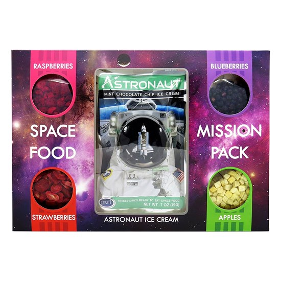 5060470571092 Astronaut Space Food Mission Pack  - Fruit Selection With Mint Chocolate Ice Cream