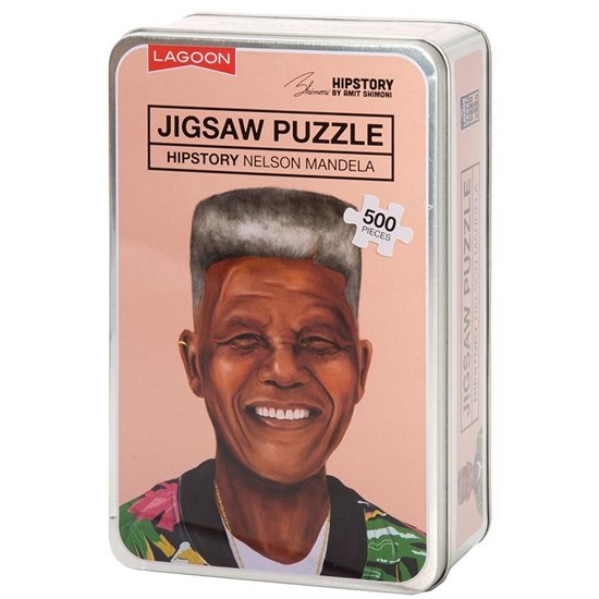 677666021443 Hipstory Nelson Mandela Jigsaw Puzzle Tin 500 Pieces