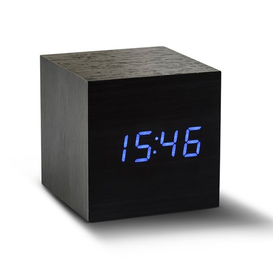 GK08WB10 Gingko Black Cube Click Clock Blue LED Alarm Clock