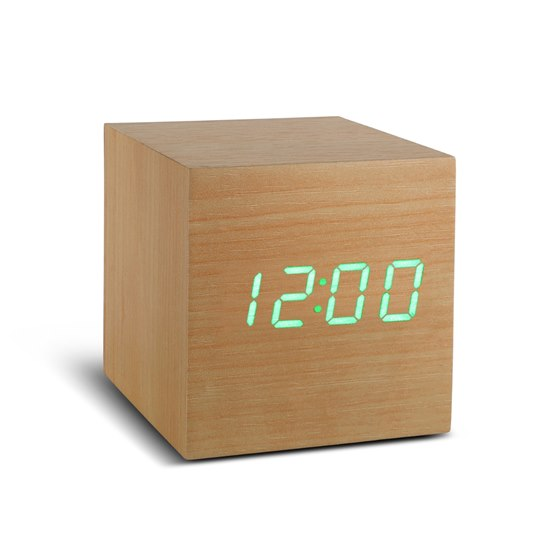 700900316477 Gingko Beech Cube Click Clock Green LED Alarm Clock