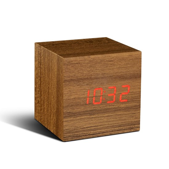 700900316484 Gingko Teak Cube Click Clock Red LED Alarm Clock