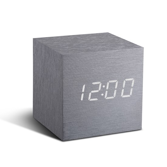 GK08WB6 Gingko Silver Cube Click Clock White LED Alarm Clock