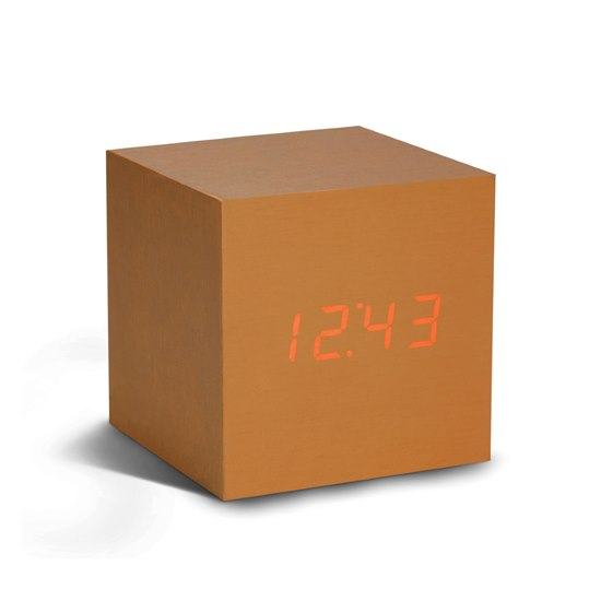 700900317177 Gingko Copper Cube Click Clock Red LED Alarm Clock