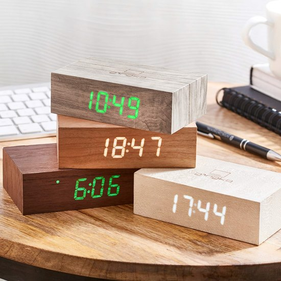 G003 Gingko Flip Click Alarm Clock - White Maple