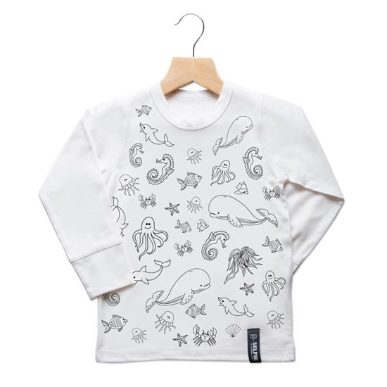 SELFIESEACTOP Selfie Clothing Sea Creatures Colour In Top 6-8Yrs