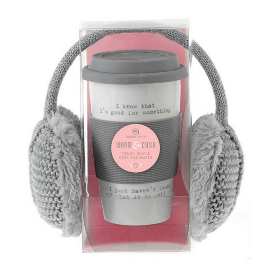 5060398126190 Ear Muffs and Travel Mug - Grey