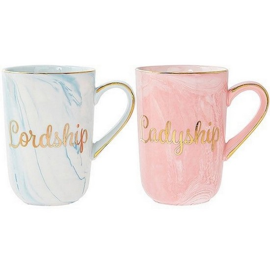 Gold Lordship & Ladyship Fine China Marble Mug Set