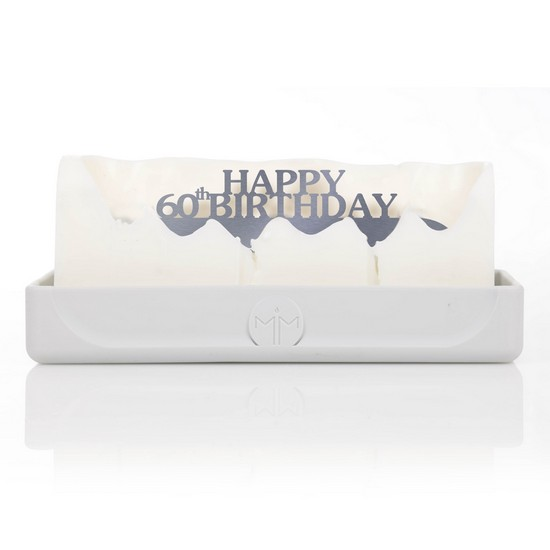 Happy 60th Birthday Grey Hidden Message Candle