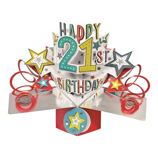 5034527277183 21st Birthday Red Pop Up Card